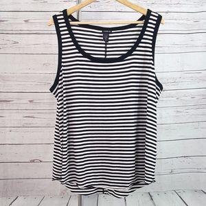 Torrid black white striped sleeveless tank top